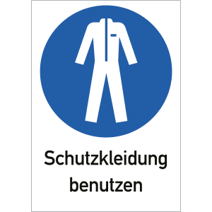 Schutzkleidung benutzen, Kombischild, ISO 7010, Kunststoff, 29,7x21 cm
