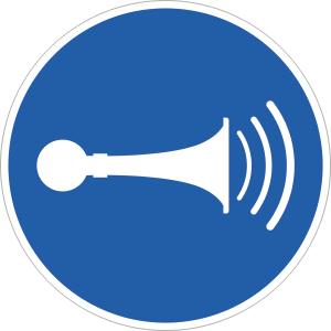 Akustisches Signal geben ISO 7010, Folie, Ø 10 cm