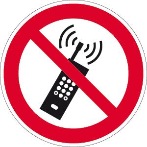 Eingeschaltete Mobiltelefone verboten ISO 7010, Alu, Ø 40 cm
