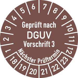 Prüfplakette Geprüft nach DGUV V3 ..., 2018 - 2023, Folie, Rolle, Ø 2 cm